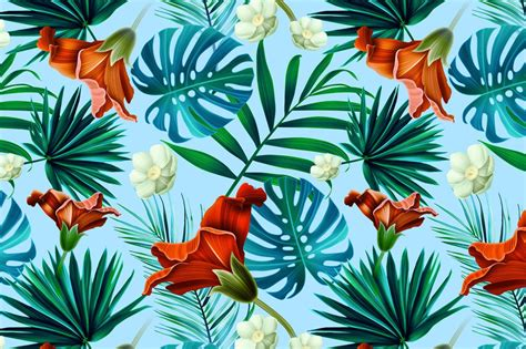 printable jungle flowers tropical pattern jungle flowers by mystel on creative