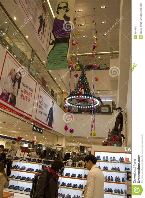 christmas holiday shopping mall shoe store editorial photo