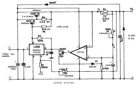 2n3055 alimentatore alimentatore a tensione variabile 0 30 volt con l200