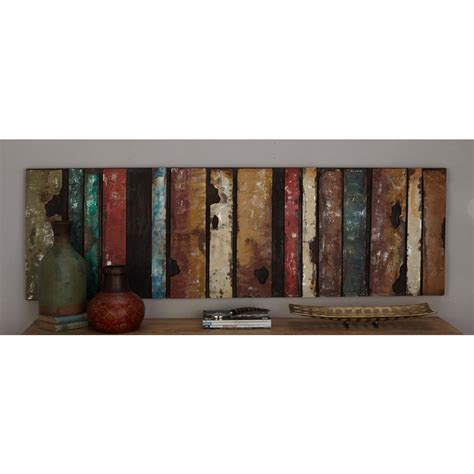 Home Depot Wall Decor by 22 In X 71 In Rustic Iron Multicolored Slat Wall Decor