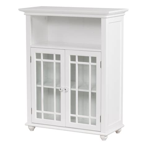 white painted mahogany wood small cabinet with clear glass