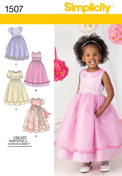 pattern dress child simplicity 1507 toddlers and child s special occasion dress
