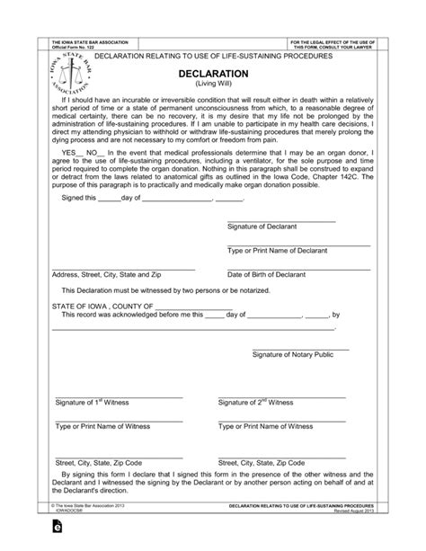 Free Iowa Living Will Declaration Pdf Eforms Free Fillable Forms Iowa Will Template
