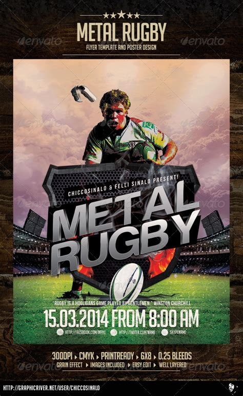 Metal Rugby Flyer Template Graphicriver Graphicriver Iii Flyer Template