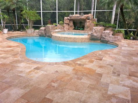 country style pools travertine pavers pattern country classic