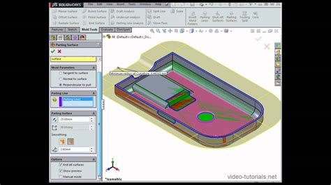 solidworks tutorial mold design how to use parting surfaces solidworks tutorials mold