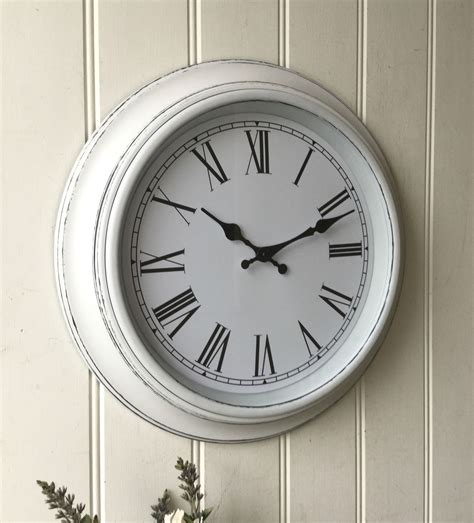 shabby chic large white wall clock amazing grace interiors