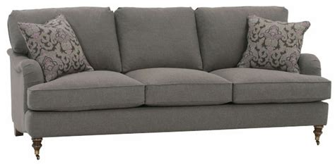 upholstered 3 seat sofa with pleated arms and