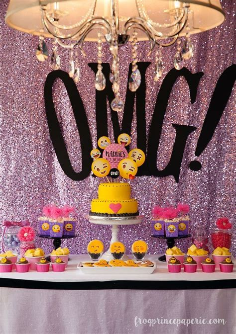 themes for 13th girl birthday parties glam emoji birthday party ideas emoji smiley and sequins