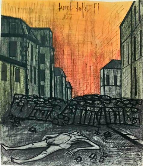 bernard buffet war horror 1954 color lithograph bernard