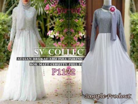 Real Pict Dress Brukat Yona baju gamis pesta cellini brokat p1122 kombinasi sifon