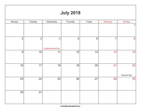Printable Calendar With Holidays And Lines July 2018 Calendar Printable With Holidays Pdf And Jpg