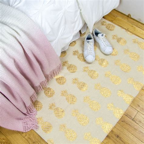 accent foil pineapple gold foil printed accent rug dormify