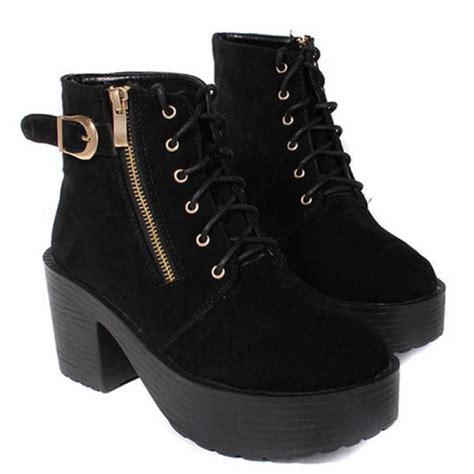 buy black thick heel ankle boots bazaargadgets