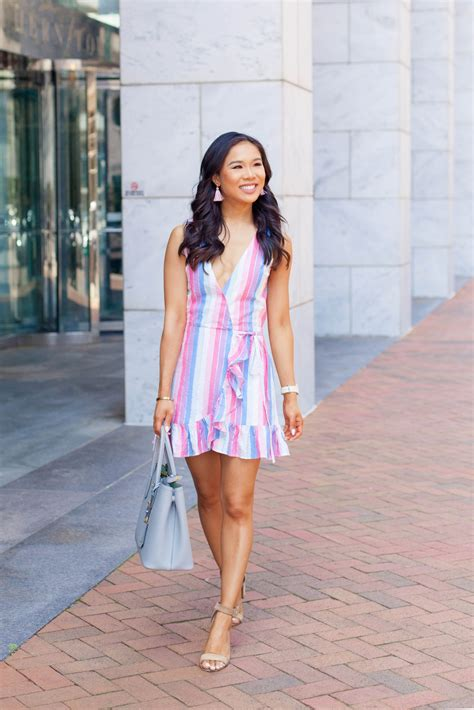 pastel rainbow striped summer dress color chic