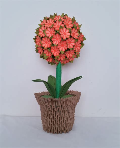 3d Origami Flower Vase - flower wedding decor centerpiece home decor paper