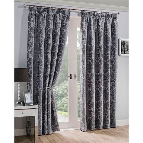silver damask curtains mayfair silver chenille damask ready made curtains closs
