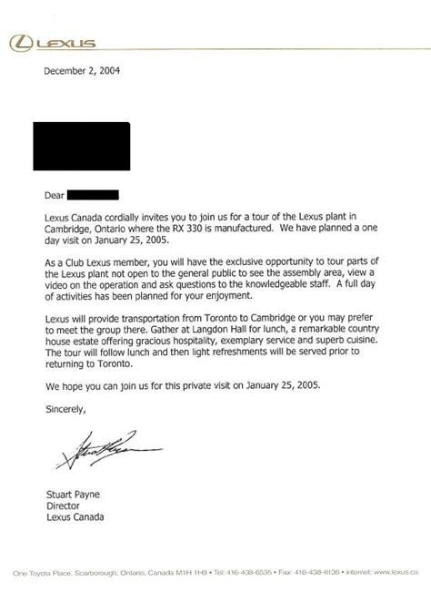 Invitation Letter To Visit Our Factory Rx 330 Plant Tour Club Lexus Forums
