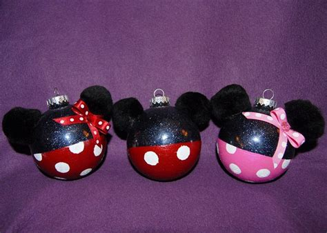 diy mickey mouse christmas decorations painted mickey and minnie mouse glass ornaments 10 00 via etsy winter