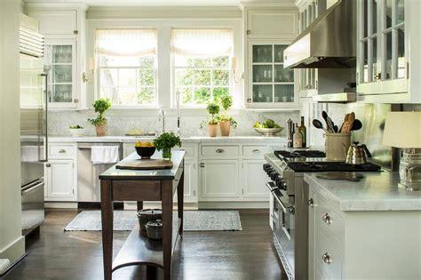 White Cottage Kitchen with Freestanding Dark Stained