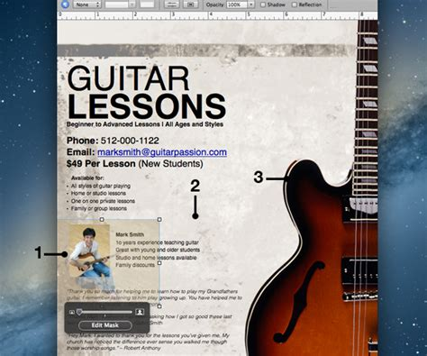 How To Create A Guitar Lesson Flyer In Pages Guitar Lesson Flyer Template