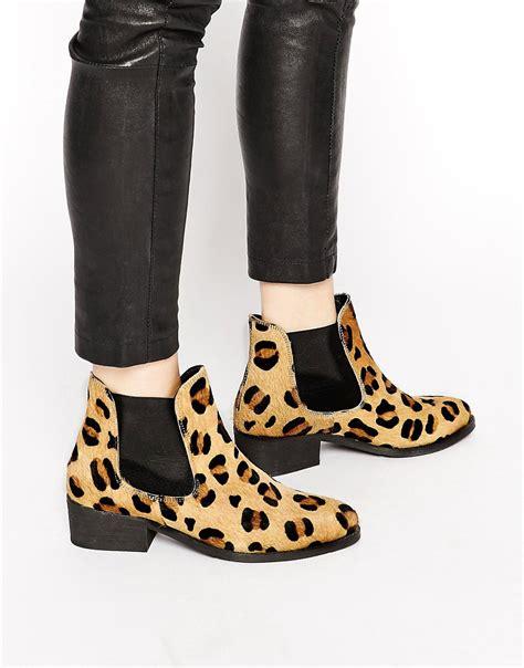 warehouse warehouse animal print flat chelsea boots at asos