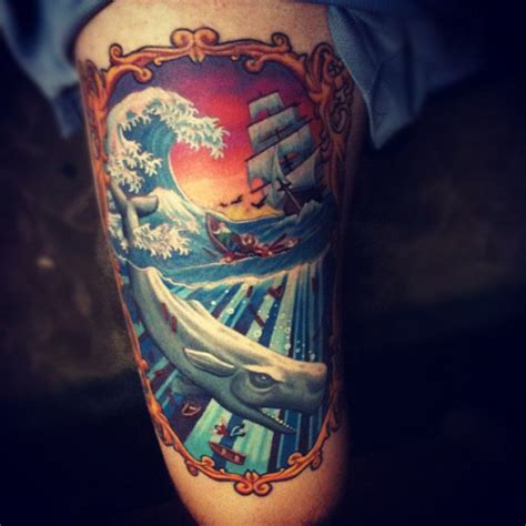 no hard feelings tattoo the chris day my thigh is finished by chris blinston