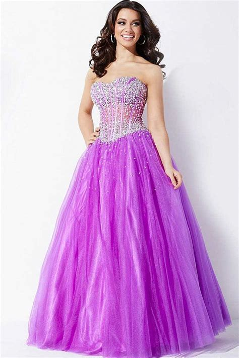 light purple strapless a line gown with