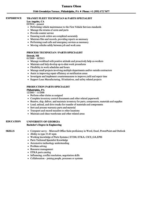 Specialist Resume by Parts Specialist Resume Sles Velvet