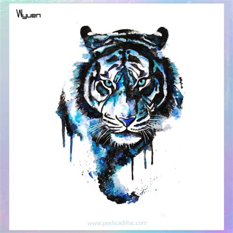 waterproof temporary splash watercolor tattoo blue tiger