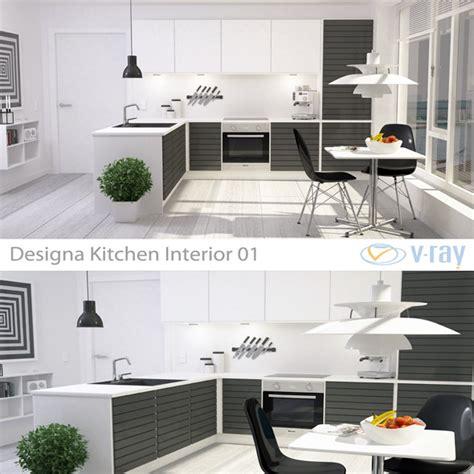 modern kitchen interior 3d rendering modern kitchen interior 001 by sickleadzdk 3docean