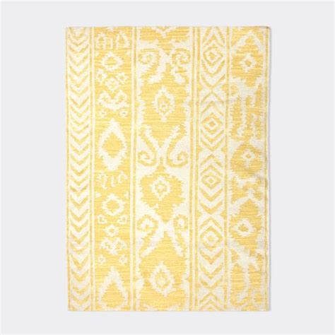 yellow patterned rug patterned stripe wool rug white yellow west elm