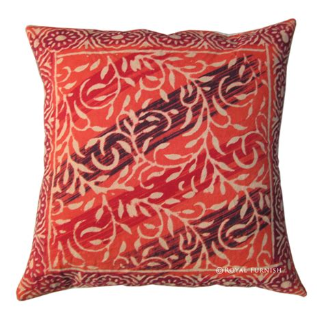Printing On Pillows by Indian Block Printed Multicolor Throw Pillow