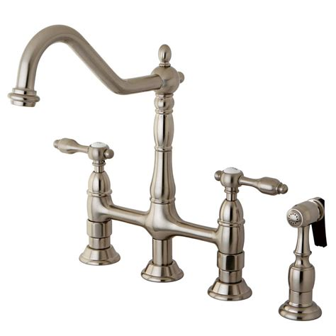 bridge kitchen faucet kingston brass 2 handle bridge kitchen faucet with side sprayer in satin nickel