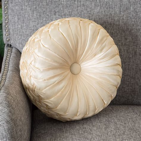 round sofa pillows home decor 14 quot round chagne sateen fabric decorative