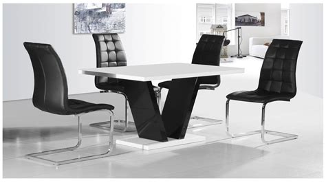 Black And White Dining Table And Chairs White Black High Gloss Dining Table 4 Chairs Set Homegenies
