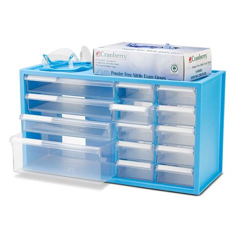 Countertop Storage Cabinet Benchtop Countertop Storage Cabinet With 14 Drawers Neon Blue Frame Dental Supplies