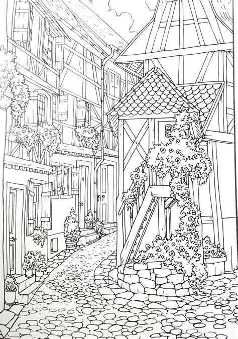 adult coloring page village rysunki kolorowanka