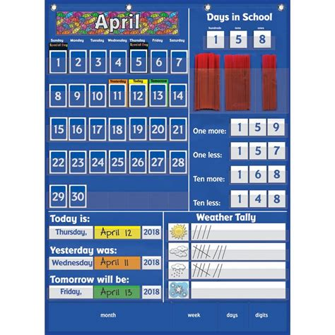 Calendar Pocket Chart Pocket Chart Calendar Carson Dellosa Complete Calendar