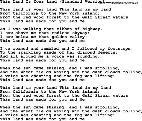 Printable Lyrics This Land Is Your Land | woody guthrie song this land is your land standard
