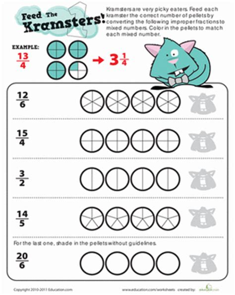 Improper Fractions Worksheet 4th Grade by Converting Improper Fractions Worksheet Education