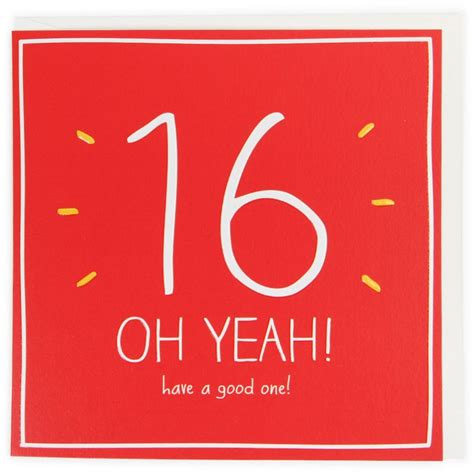 16 Year Boy Birthday Card 16 Oh Yeah 16th Birthday Card
