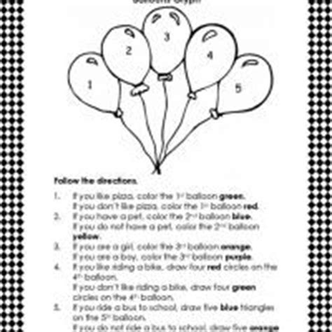 free printable following directions activities a lesson in following directions