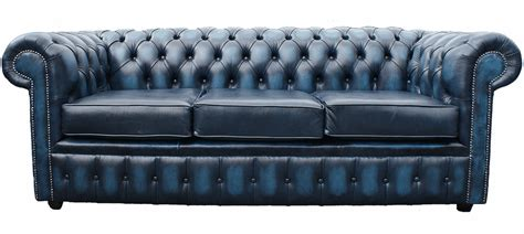 Blue Leather Sofa Bed Buy 3 Seater Blue Leather Chesterfield Sofa Bed