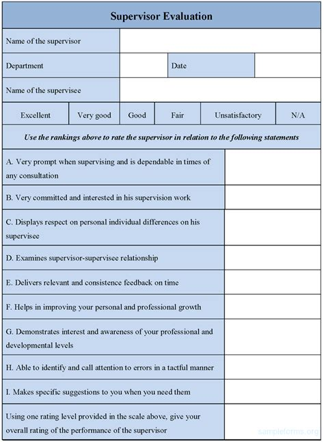 supervisor evaluation form template supervisor evaluation form sle supervisor evaluation