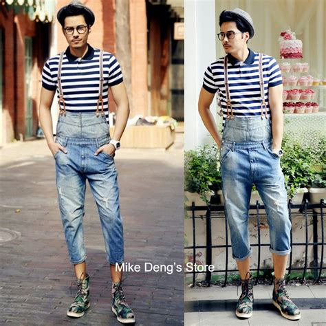 Ripped Denim Overall Shorts summer preppy style mens casual white ripped denim overall shorts fashion jumpsuits