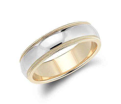 Wedding Rings Yellow And White Gold by Milgrain Comfort Fit Wedding Ring In 14k White And
