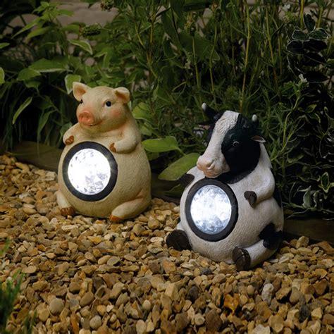 pig lights outdoor solar lights 2 pack pig cow outdoor garden farm