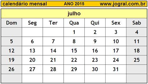 Calendario Julho 2015 Calend 225 Mensal Julho De 2015 Imprimir M 234 S De Julho 2015