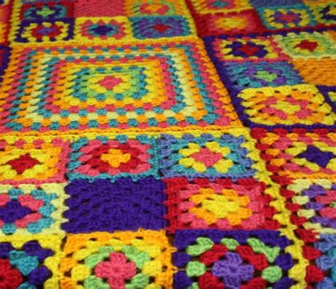 Patchwork Square Afghan - crochet square afghan crochet blanket hippie
